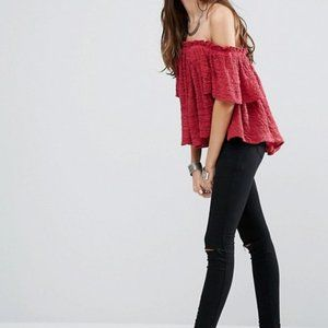 Free People Thrills and Frills Off Shoulder Top M